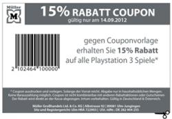 [LOKAL] 15% Rabatt auf alle PS3 Games bei Müller am 14.09.12