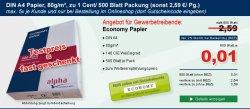 2.500 Blatt A4 Papier für 0,05 Euro + 5,99 Euro VSK bei Alpha Bürobedarf