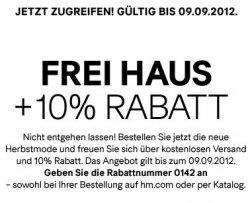 kostenloser Versand + 10% im H&M Onlineshop