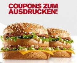 McDonald´s Gutscheine – bis zu 50% sparen ab 3.1.2013 (u.a. 2 Bic Mac zum Preis von einen)