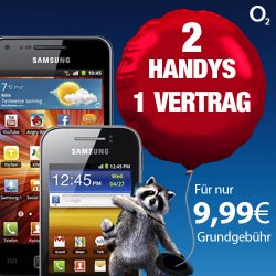 Samsung Galaxy S + Galaxy Y kostenlos mit o2 XS Vetrag für monatlich nur 9,99€ @ logitel_bay