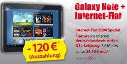 Samsung N8000 Galaxy Note für 29,95€ monatlich mit Internet flat durch einmalig 120,- Euro! @mobildiscounter.de