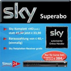 Sky Abo Komplett inkl. HD für 33,90€ + Sky HD+ Receiver kostenlos + 40€ Auszahlung @eBay
