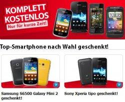 Smartphone kostenlos bzw. Zugabe nach Wahl mit Gratis-Vertrag @eteleon