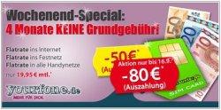 Yourfone Allnet + InternetFlat 4 Monate keine Grundgebühr durch 80€ Auszahlung + Anschlußpreis gespart