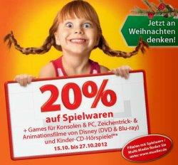 [Lokal] 20% auf Spiele + Games für Konsolen & PCs bei müller-Drogeriemärkten – 15. bis 27.10.2012