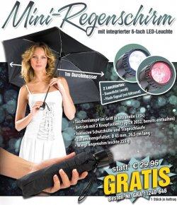 2in1 Mini-Regenschirm mit LED gratis (zzgl.VSK) @ Pearl.de