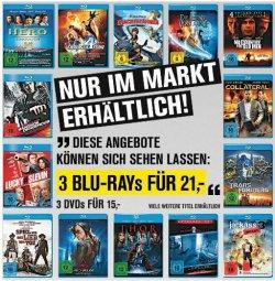 [Lokal] 3 Blu-rays für 21 Euro oder 3 DVD´s für 15 Euro im Promarkt