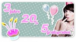 3 Jahre Stadt-Parfümerie Pieper Onlineshop 20%  + 5 Gratisproben.
