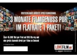3 Monate LOVEFiLM Flatrate – 1 Paket statt 35,97 nur 9,99 Euro für Neukunden