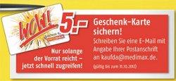 5€ MediMax Gutschein gratis per Post