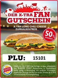 Burger King (Bundesweit)  den X-Tra Long Chilli Cheese zum halben Preis (1,99€)