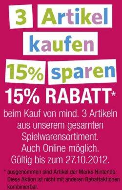 Galeria Kaufhof Spielwaren: 3 Artikel kaufen, 15% sparen