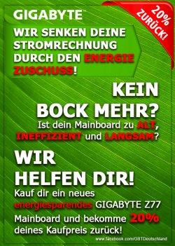 20% Cashback auf Gigabyte-Mainboards bis zum 29.10.12