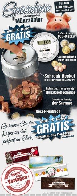 GRATIS Spardose mit Münzzähler Wert von 16,90EUR auf pearl.de (zzgl. 4,90EUR Versand)