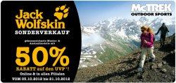 Jack Wolfskin Sonderverkauf: 50% Rabatt auf gekennzeichnete Muster- und Auslaufmodelle on- und offline bei McTrek