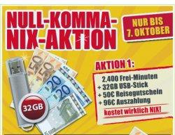 Kostenlos: 100 Frei-Minuten/Monat + 32GB USB-Stick + 50€ Reisegutschein @mobildiscouter