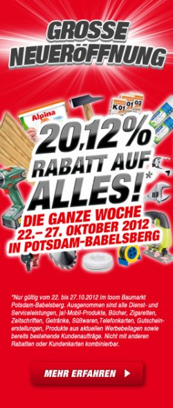 [Lokal] 20.12% Rabatt beim Toom Baumarkt in Potsdam & Tgl. Tagesangebot (22.10-27.10)