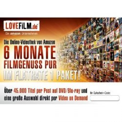 LOVEFiLM – 6 Monate Flatrate 1 Paket nur 18,99Euro statt ca. 70Euro