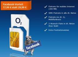 O2 Facebook-Aktion: O2 Blue Select mit 2 Wunsch-Flats (=5-fach Flat), monatlich nur 17,99 statt 29,99 €