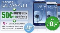 Samsung S3 kostenlos + Telekom Special Call & Surf Mobil Vertrag für 24,95 + 50€ Gutschein für mysportworld.de