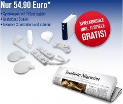 Spielkonsole mit 11Sportspielen geschenkt für 8Wochen FAZ-ABO für NUR 54,90 Euro