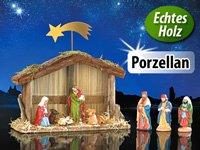 10 teilige, handbemalte Weihnachtskrippe aus Porzellan & Holz Figurenhöhe bis 10cm für nur 3,90€ +1,95€ Versand