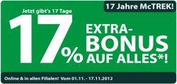 17 % Bonus auf Alles! bei McTrek outdoor sports bei 100€ MBW
