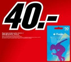 50€ iTunes Guthabenkarte für 40€ bei Media Markt (bundesweit) 20% gespart