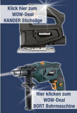 Bort 500W Bohrmaschine, Hander HJS-505 Stichsäge oder Defort Akkuschrauber für je nur 19,99 € – eBayWOW von Mittwoch