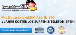 DeutschlandSIM ALL-IN 100 mit bis zu 1GB Volumen dank Coinsback fast kostenlos!