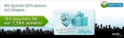 für 7,50€ einen 15€ Douglas Gutschein bei Quicker.com kaufen – 50% gespart