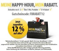 Happy – Hour 12% Rabatt bei Mein Paket | Update: Heute bis 20 Uhr wieder aktiv!