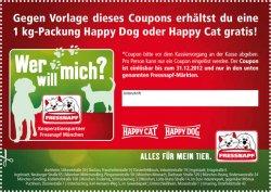 Hunde-/Katzenfutter gratis -1 kg Premiumnahrung von Happy Dog oder Happy Cat