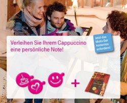 Kostenlose Cappuccino Schablonen + Kakao spendiert die telekom