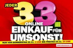@MediaMarkt.de: Jeder 33. Online-Einkauf für umsonst, startet am Donnerstag den 22.11 um 0:00 Uhr