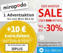 Mirapodo Winter-Sale ab heute mit 30% Rabatt + 10 Euro Extra-Gutschein