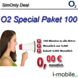O2  Special Paket 100 für 0€ monatlich – 100 Minuten kostenlos in alle Netze telefonieren, einmalig €1,- @eBay