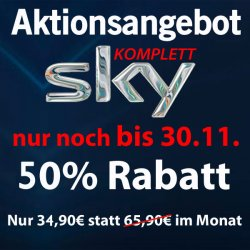 Sky komplett + Receiver + HD + Sky Go für 34,90€ @ mobil-and-fun.de (Neukunden)