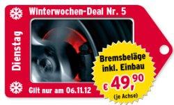 Winterwochen-Deals bei ATU, heute: Bremsbeläge inkl. Einbau nur 49,90 EUR pro Achse