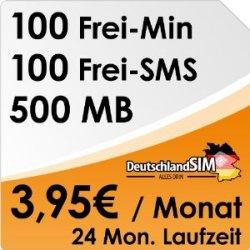 100 Freiminuten + 100 Frei-SMS + 500 MB Volumen für nur 3,95 € mtl.
