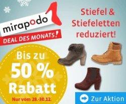 Aktion bei mirapodo.de: Bis zu 50% auf Stiefel und Stiefeletten für Damen und Herren
