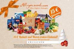 @Allyouneed.com: 15€ Gutscheincode mit nur 30,- Euro Mindestbestellwert