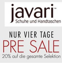 Javari.de: 20% Presale mit Gutschein auf ALLES, nur bis 9.12.