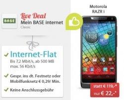 """Neuer Live-Deal – Motorola RAZR i mit """"MeinBASE internet Classic Tarif"""" für nur 22,- statt 119 Euro @sparhandy.de"""