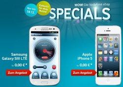 Vodafone-Special @eBay.de: iPhone 5 oder Samsung S3 LTE für 0,- Euro