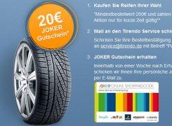 20€ Gutschein-Aktion von Paypal und Tirendo brim Online-Reifenkauf