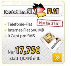 DeutschlandSIM FLAT mit Telefonie-Flat in ALLE Netze für nur 17,95 € – nur von heute bis 31.01