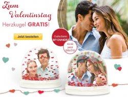 Gratis Herzkugel mit Bild, z.B. zum Valentinstag bei Snapfish.de kostenlos(+4,95 Versand) mit Gutschein