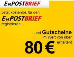 Kostenlos für den E-POSTBRIEF anmelden und Gutscheine im Wert von 80€ sichern